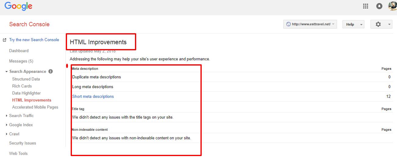 html improvement shown by Google webmaster
