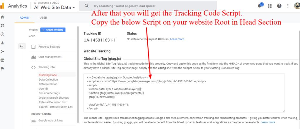 Google Analytics Tracking Code Script