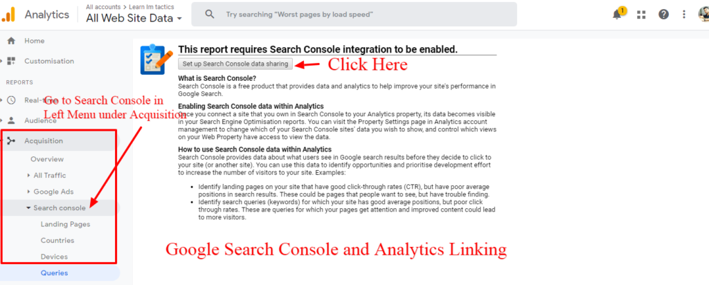 Search console and Google Analytics Linking