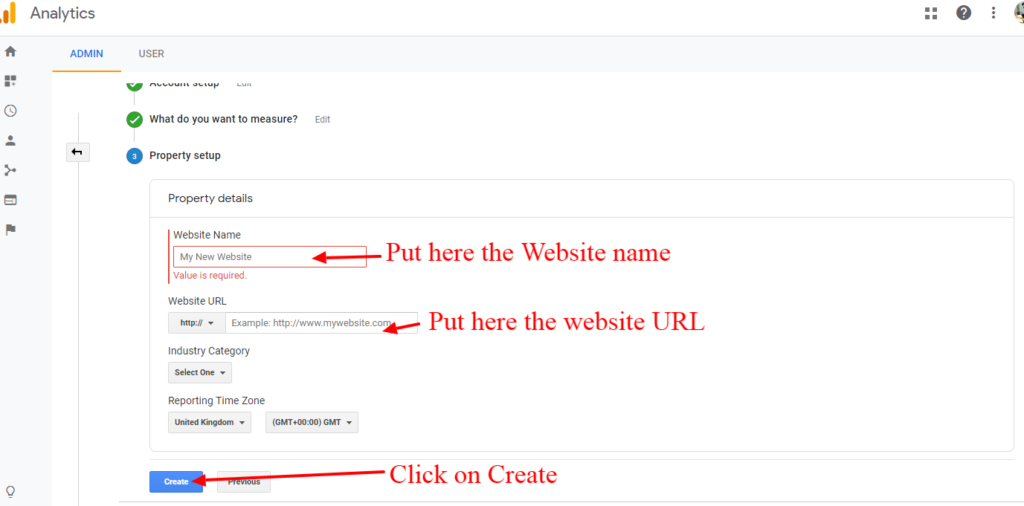 Put the website name and URL for tracking on Google Analytics