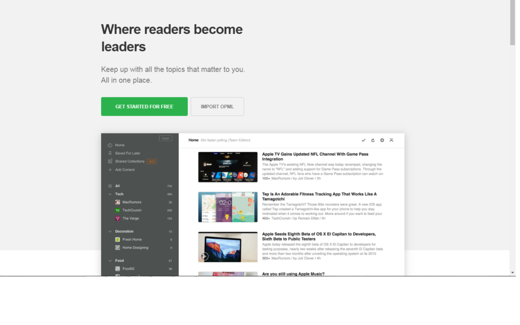 Feedly for social media content ideas