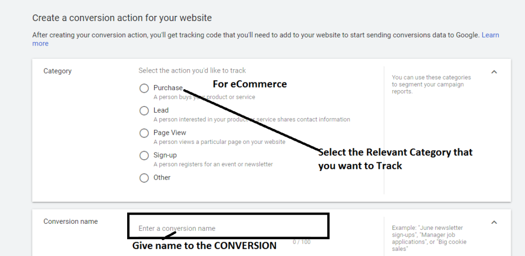 Select the Category for Conversion tracking