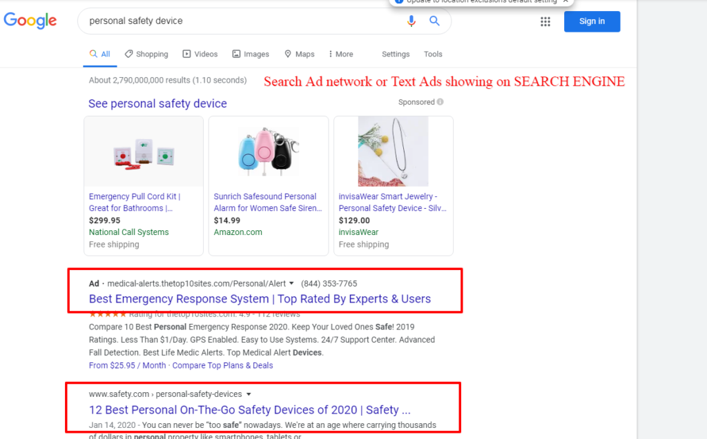 Search text ads